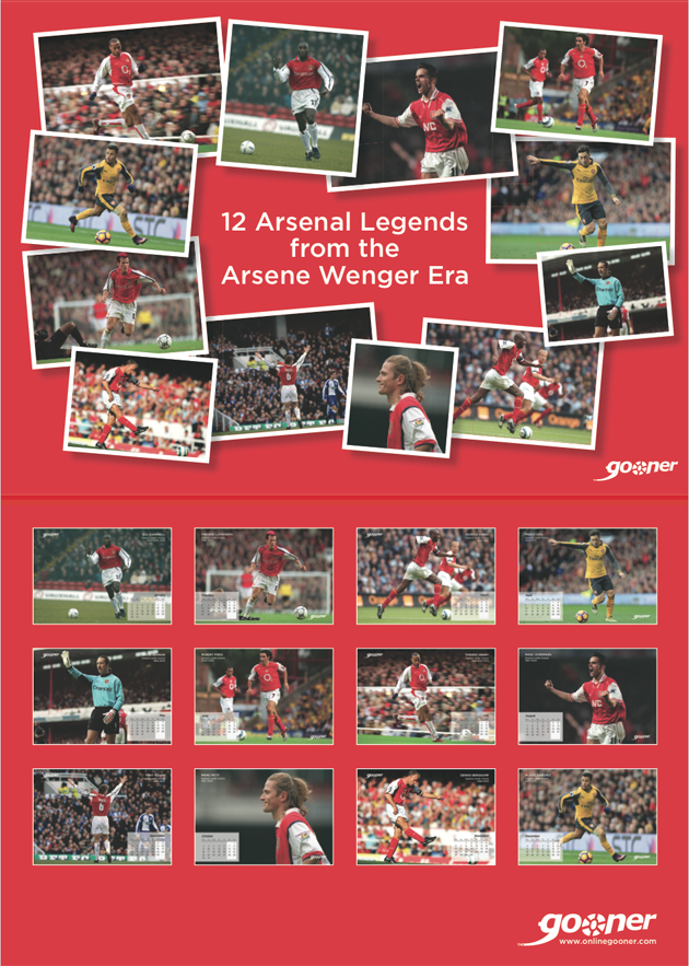 Gooner 2017 Calendar: 12 Arsenal Legends from the Wenger Era