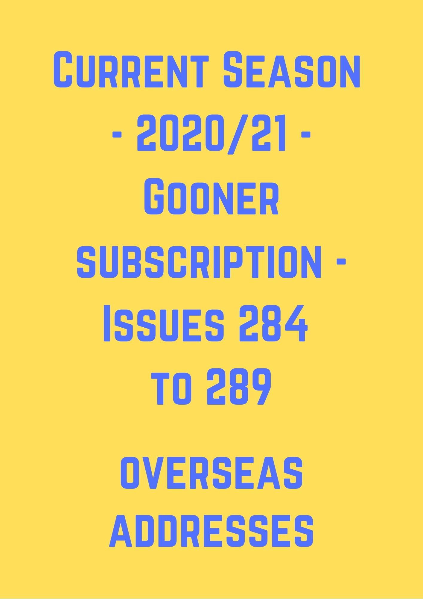 Current Season (2020/21) Overseas Subscription