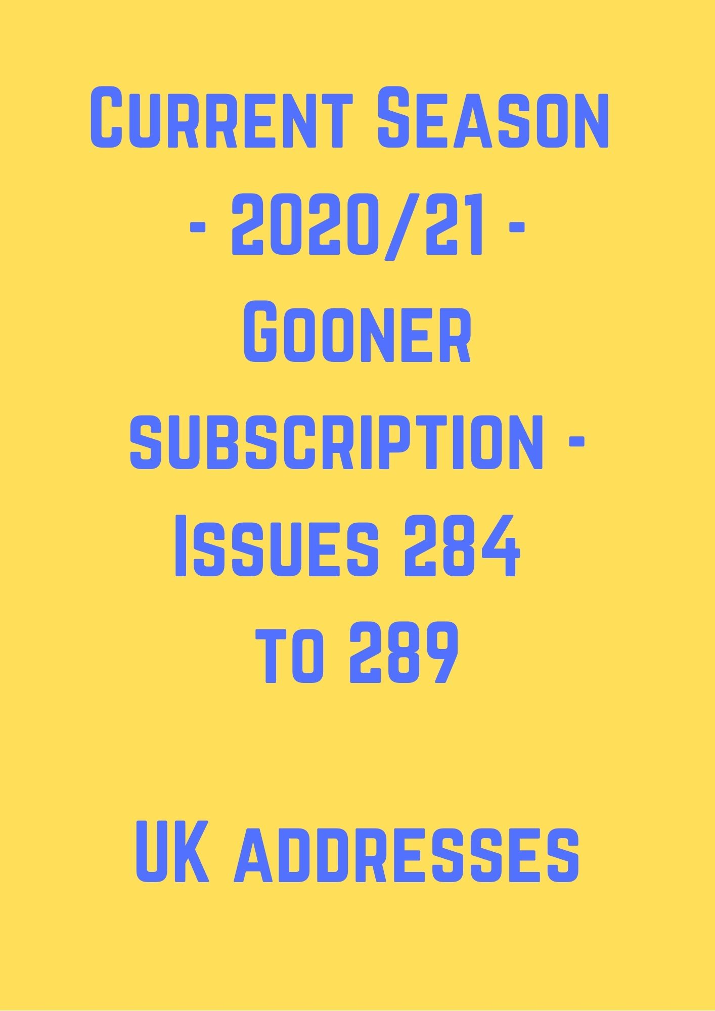 Current Season (2020/21) UK Subscription